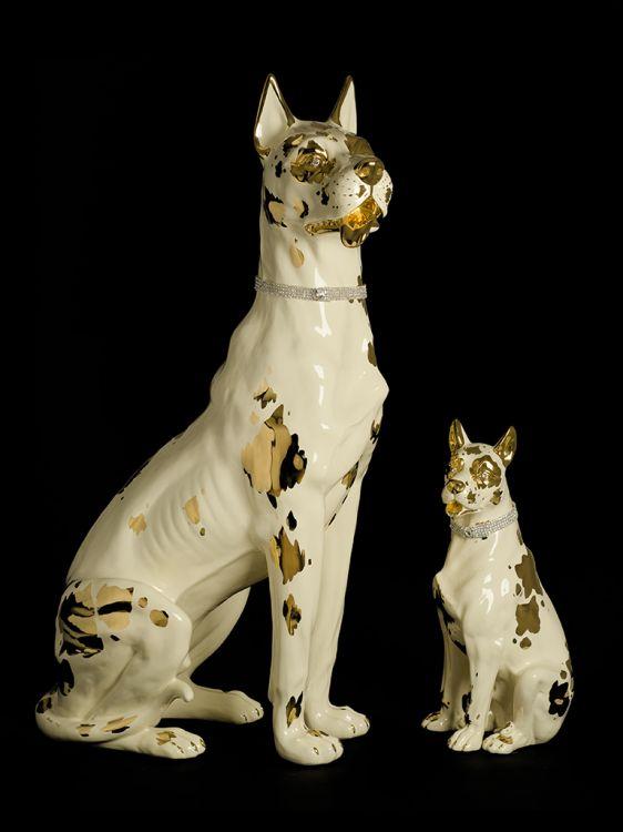 Favorito Cane alano in ceramica crema e oro - Animali in ceramica  HY23