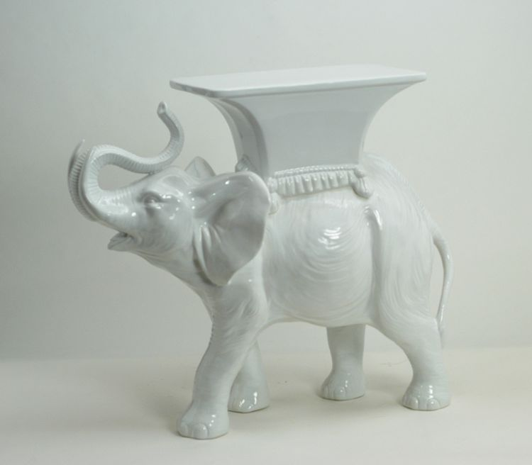 Ceramic White Elephant With Table Ceramiche Boxer